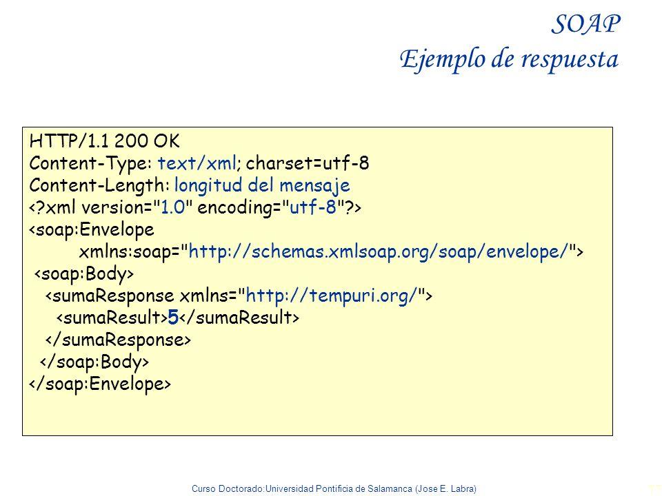 Curso Doctorado:Universidad Pontificia de Salamanca (Jose E. Labra) 77 HTTP/1.1 200 OK Content-Type: text/xml; charset=utf-8 Content-Length: longitud