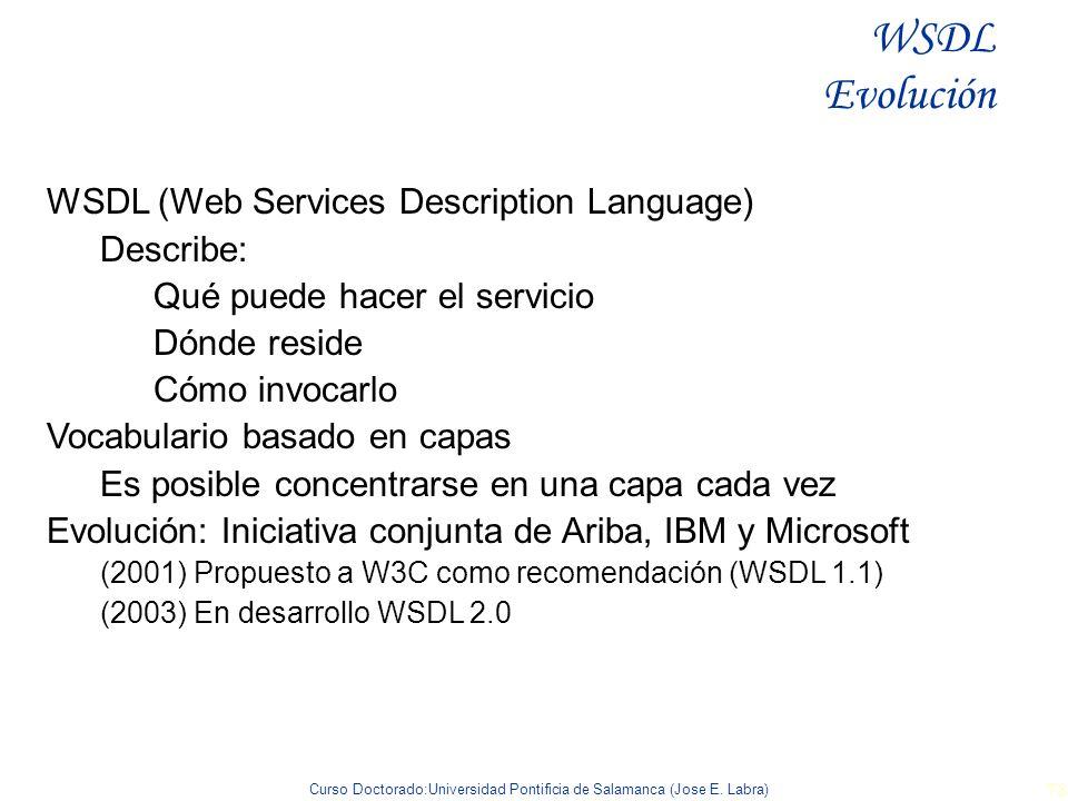 Curso Doctorado:Universidad Pontificia de Salamanca (Jose E. Labra) 78 WSDL (Web Services Description Language) Describe: Qué puede hacer el servicio