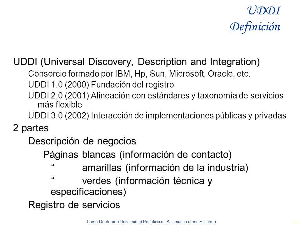 Curso Doctorado:Universidad Pontificia de Salamanca (Jose E. Labra) 82 UDDI (Universal Discovery, Description and Integration) Consorcio formado por I