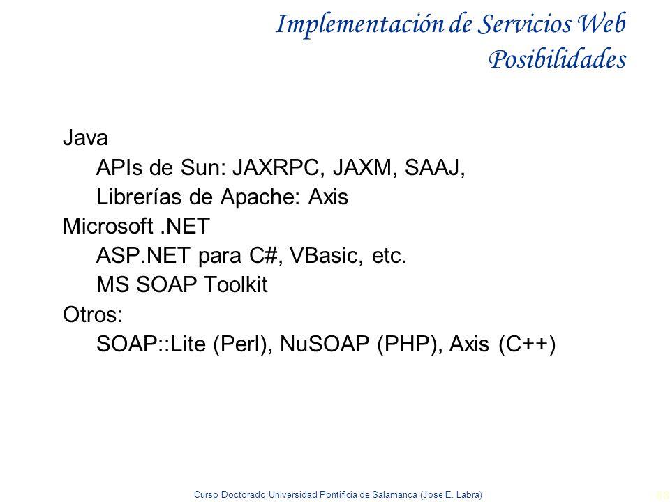 Curso Doctorado:Universidad Pontificia de Salamanca (Jose E. Labra) 88 Java APIs de Sun: JAXRPC, JAXM, SAAJ, Librerías de Apache: Axis Microsoft.NET A