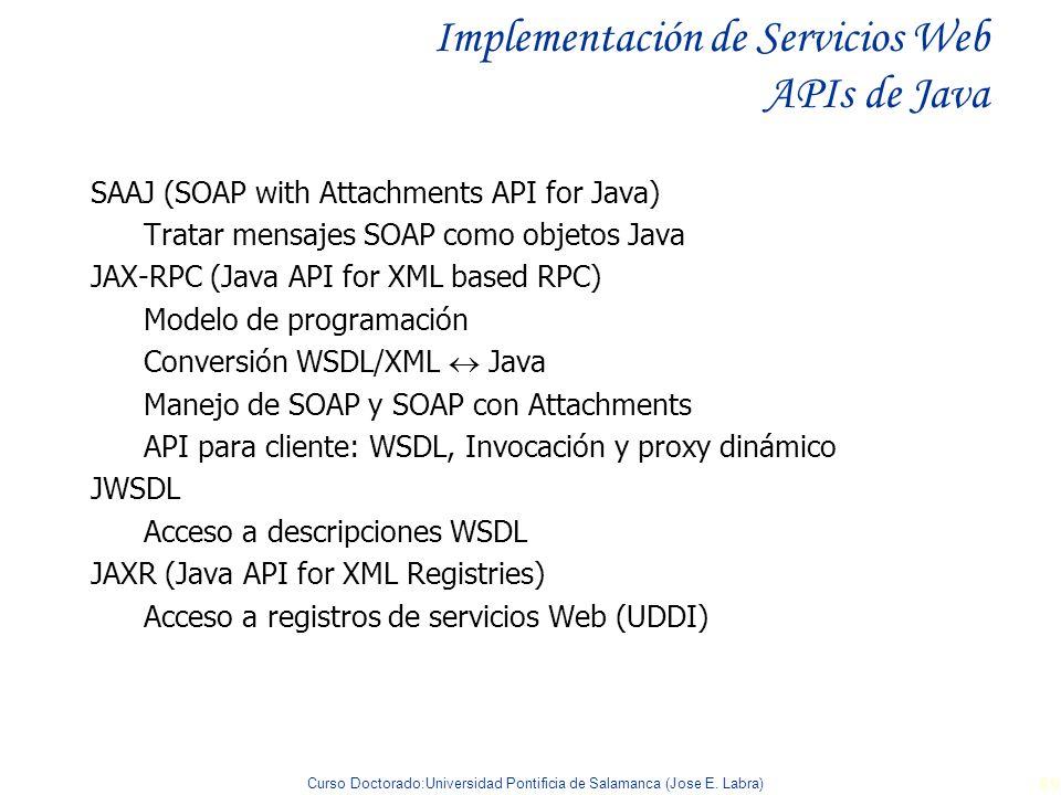 Curso Doctorado:Universidad Pontificia de Salamanca (Jose E. Labra) 89 Implementación de Servicios Web APIs de Java SAAJ (SOAP with Attachments API fo