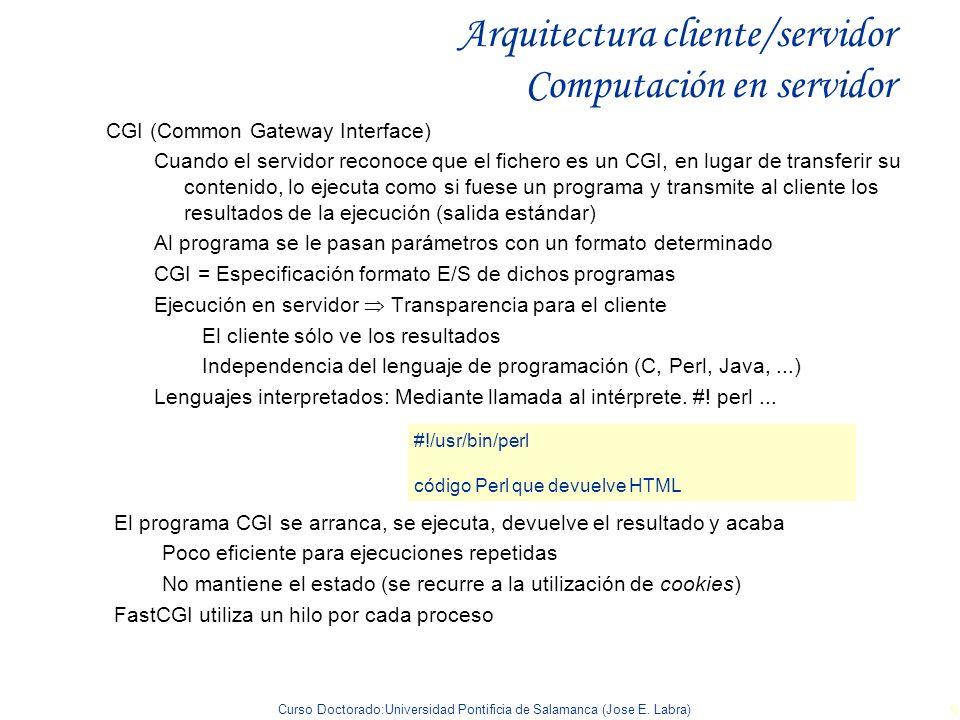 Curso Doctorado:Universidad Pontificia de Salamanca (Jose E. Labra) 9 Arquitectura cliente/servidor Computación en servidor CGI (Common Gateway Interf