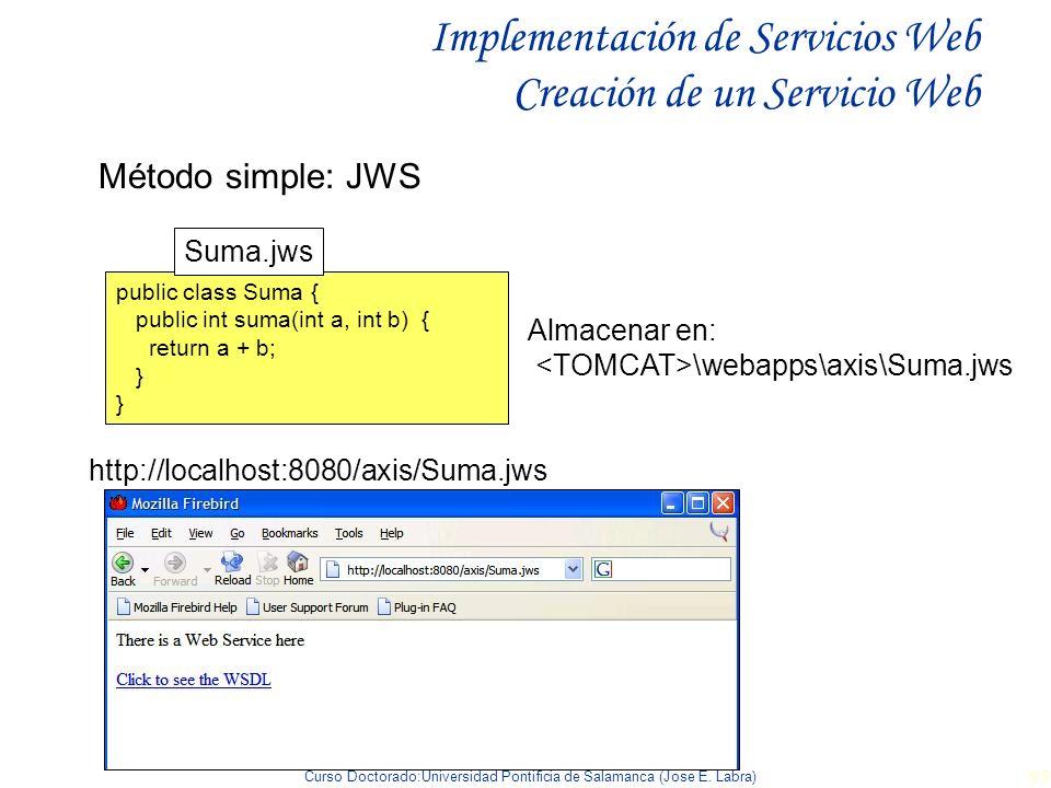 Curso Doctorado:Universidad Pontificia de Salamanca (Jose E. Labra) 95 Implementación de Servicios Web Creación de un Servicio Web Método simple: JWS