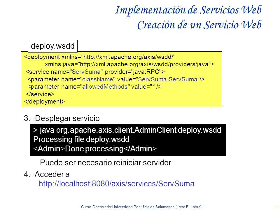 Curso Doctorado:Universidad Pontificia de Salamanca (Jose E. Labra) 98 Implementación de Servicios Web Creación de un Servicio Web <deployment xmlns=