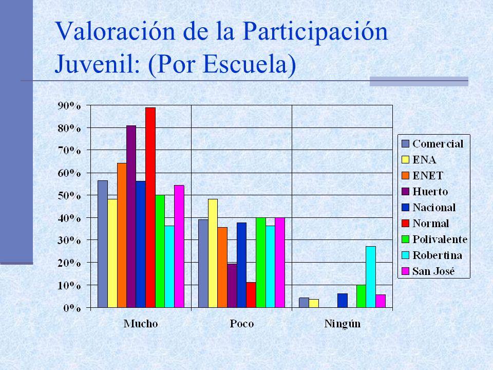 Valoración de la Participación Juvenil: (Por Escuela)