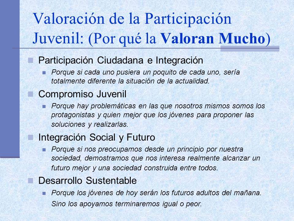 Valoración de la Participación Juvenil: (Por qué la Valoran Mucho) Participación Ciudadana e Integración Porque si cada uno pusiera un poquito de cada uno, sería totalmente diferente la situación de la actualidad.