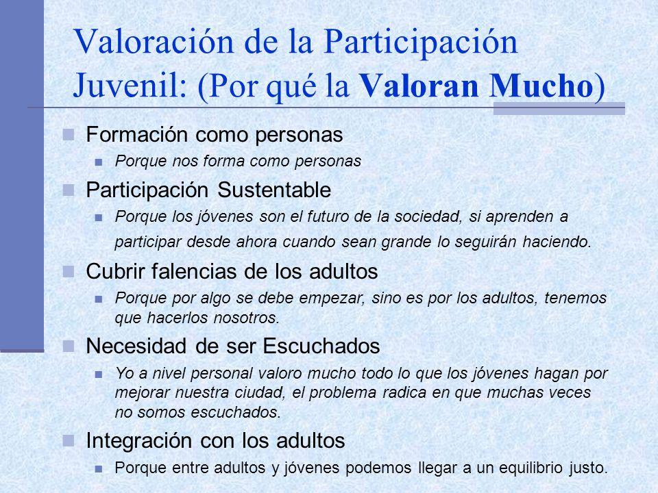 Valoración de la Participación Juvenil: (Por qué la Valoran Mucho) Formación como personas Porque nos forma como personas Participación Sustentable Po