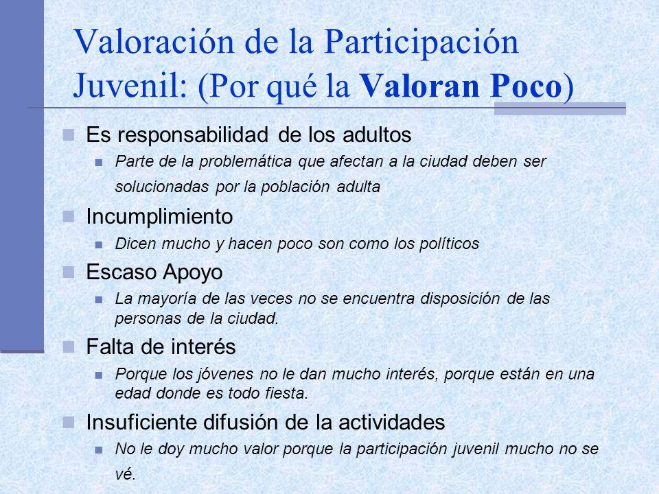 Valoración de la Participación Juvenil: (Por qué la Valoran Poco) Es responsabilidad de los adultos Parte de la problemática que afectan a la ciudad d