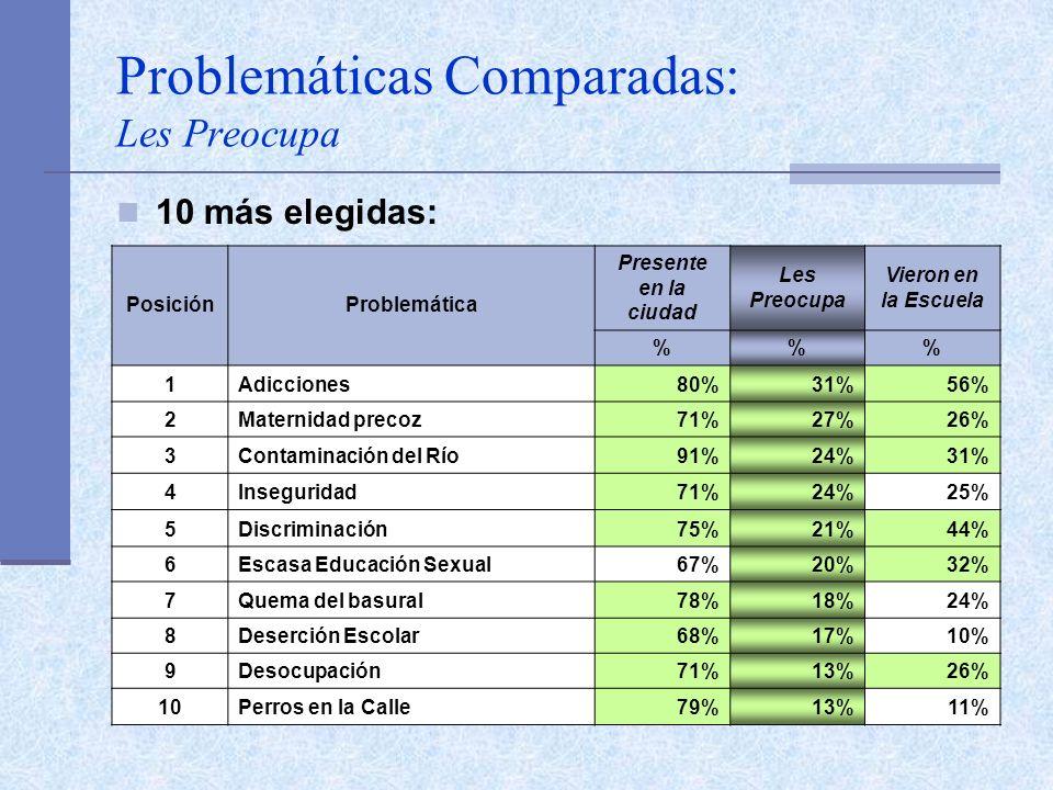 Problemáticas Comparadas: Les Preocupa 10 más elegidas: PosiciónProblemática Presente en la ciudad Les Preocupa Vieron en la Escuela %% 1Adicciones80%31%56% 2Maternidad precoz71%27%26% 3Contaminación del Río91%24%31% 4Inseguridad71%24%25% 5Discriminación75%21%44% 6Escasa Educación Sexual67%20%32% 7Quema del basural78%18%24% 8Deserción Escolar68%17%10% 9Desocupación71%13%26% 10Perros en la Calle79%13%11%