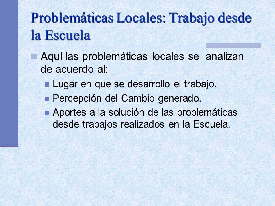 Problemáticas Locales: Trabajo desde la Escuela Aquí las problemáticas locales se analizan de acuerdo al: Lugar en que se desarrollo el trabajo. Perce