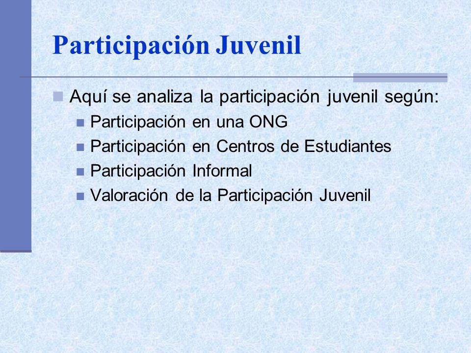 Participación Juvenil Aquí se analiza la participación juvenil según: Participación en una ONG Participación en Centros de Estudiantes Participación Informal Valoración de la Participación Juvenil