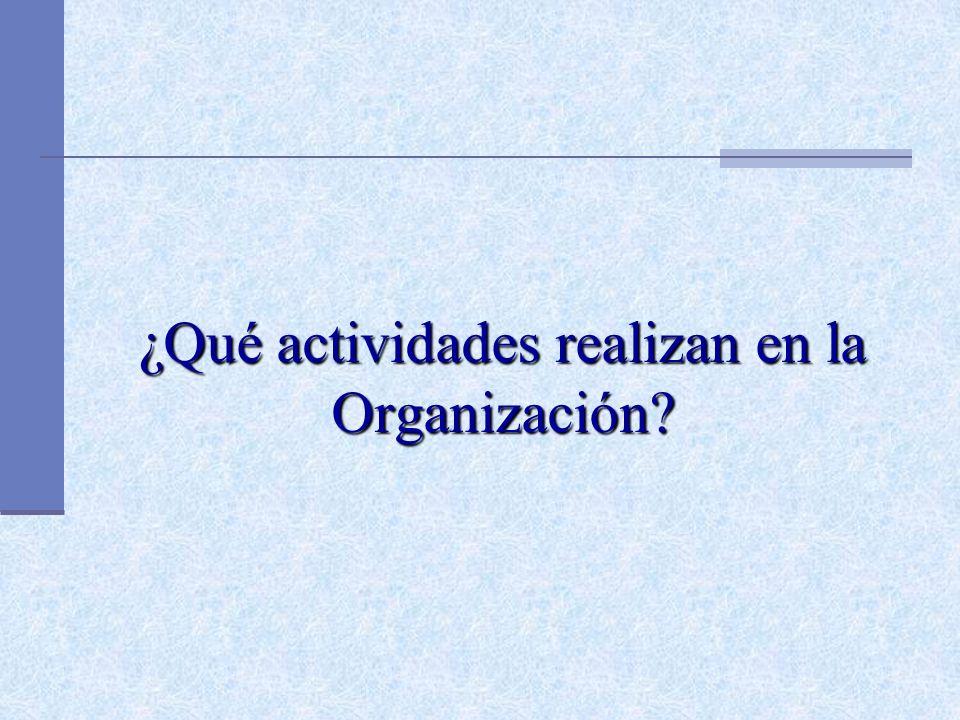 ¿Qué actividades realizan en la Organización