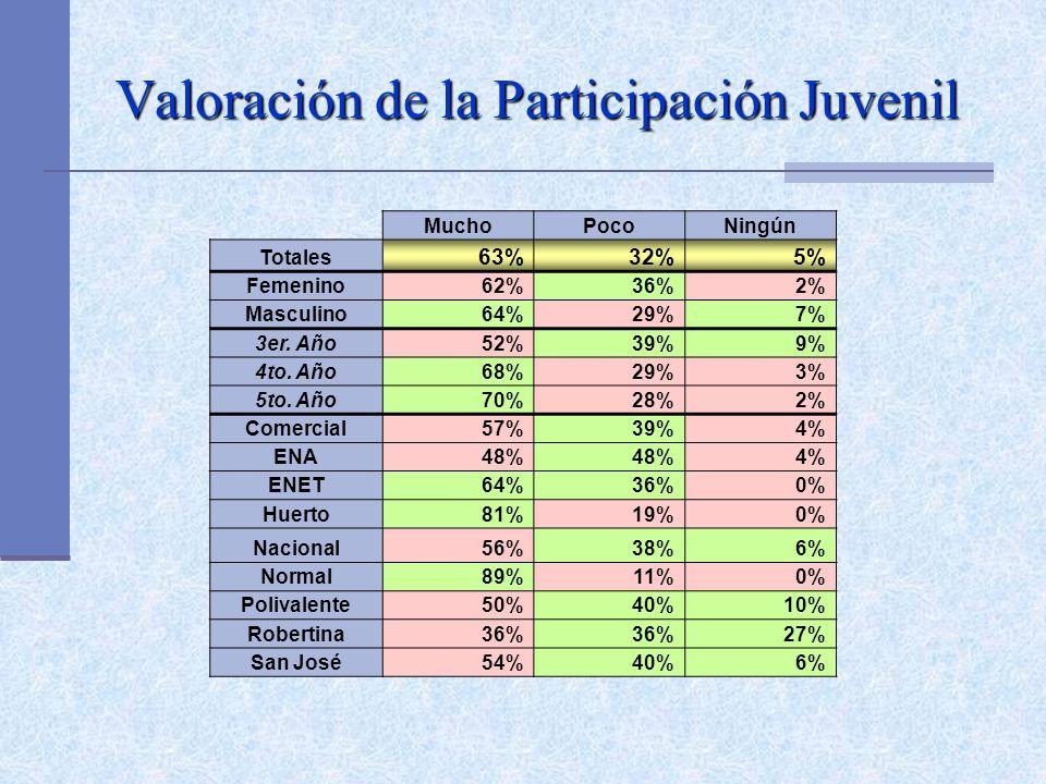 Valoración de la Participación Juvenil MuchoPocoNingún Totales 63%32%5% Femenino62%36%2% Masculino64%29%7% 3er. Año52%39%9% 4to. Año68%29%3% 5to. Año7