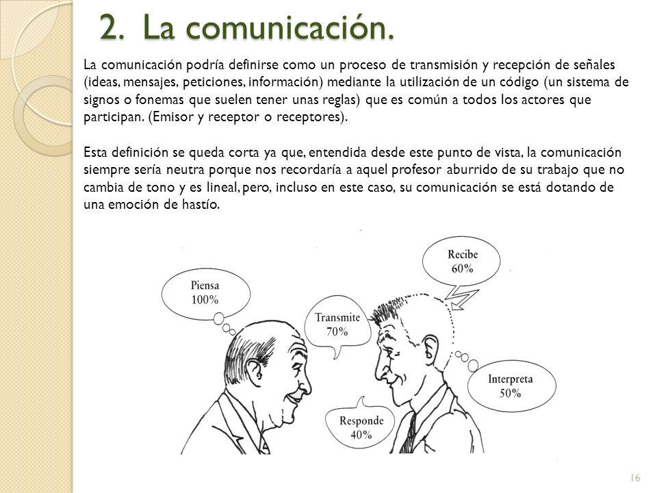 16 2. La comunicación. La comunicación podría definirse como un proceso de transmisión y recepción de señales (ideas, mensajes, peticiones, informació
