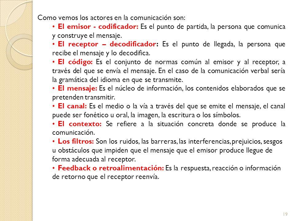 19 Como vemos los actores en la comunicación son: El emisor - codificador: Es el punto de partida, la persona que comunica y construye el mensaje. El