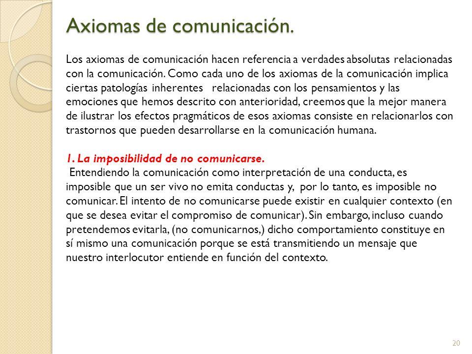 20 Axiomas de comunicación. Los axiomas de comunicación hacen referencia a verdades absolutas relacionadas con la comunicación. Como cada uno de los a