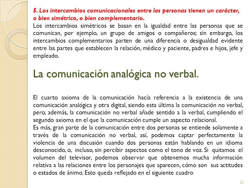 22 5. Los intercambios comunicacionales entre las personas tienen un carácter, o bien simétrico, o bien complementario. Los intercambios simétricos se