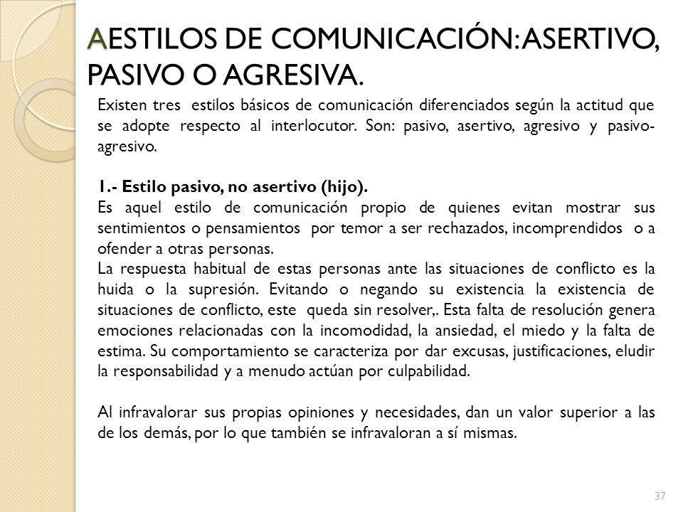 37 A AESTILOS DE COMUNICACIÓN: ASERTIVO, PASIVO O AGRESIVA. Existen tres estilos básicos de comunicación diferenciados según la actitud que se adopte