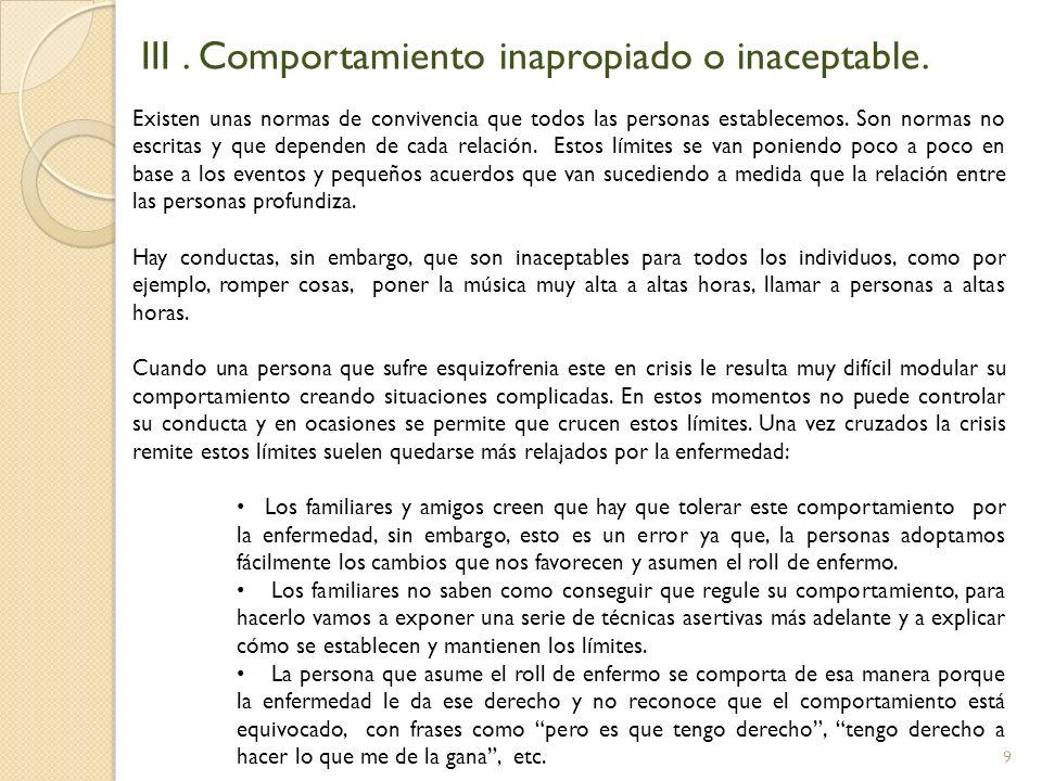 9 III. Comportamiento inapropiado o inaceptable. Existen unas normas de convivencia que todos las personas establecemos. Son normas no escritas y que