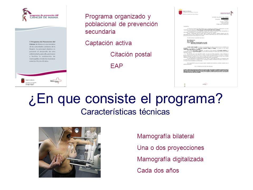 ¿En que consiste el programa? Características técnicas Mamografía bilateral Una o dos proyecciones Mamografía digitalizada Cada dos años Programa orga