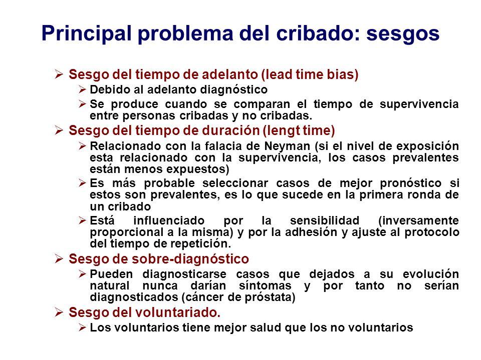 Principal problema del cribado: sesgos Sesgo del tiempo de adelanto (lead time bias) Debido al adelanto diagnóstico Se produce cuando se comparan el t