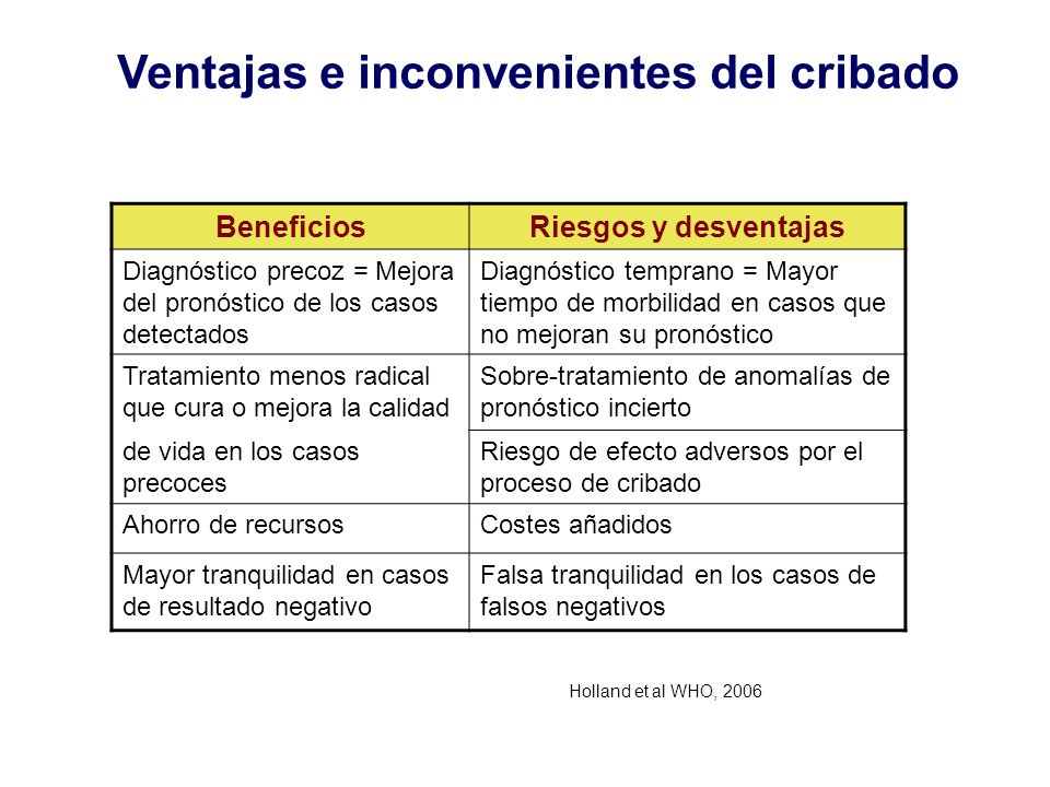 Ventajas e inconvenientes del cribado BeneficiosRiesgos y desventajas Diagnóstico precoz = Mejora del pronóstico de los casos detectados Diagnóstico t