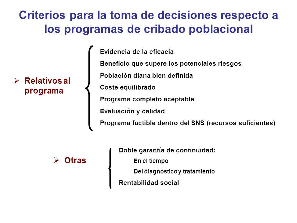 Políticas de cribado Programas organizados poblacionales Características: Objetivo: mejorar la salud de la población (además del beneficio individual) Población específica definida con protocolos predefinidos de inclusión y exclusión.