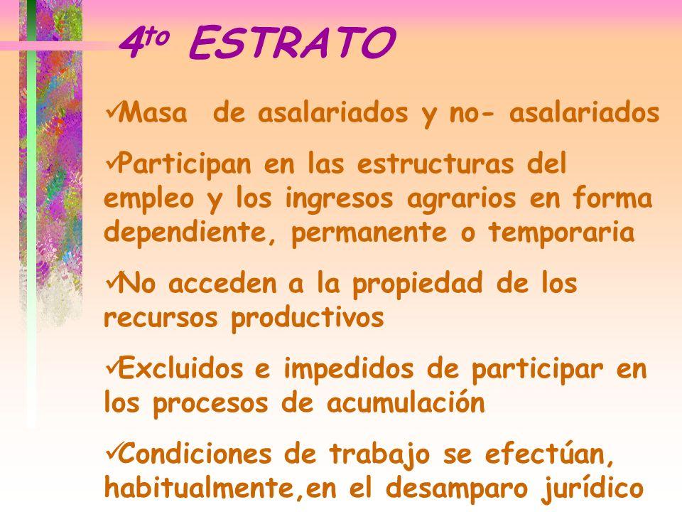 Masa de asalariados y no- asalariados Participan en las estructuras del empleo y los ingresos agrarios en forma dependiente, permanente o temporaria N