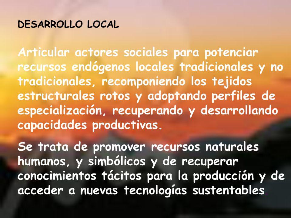 Articular actores sociales para potenciar recursos endógenos locales tradicionales y no tradicionales, recomponiendo los tejidos estructurales rotos y