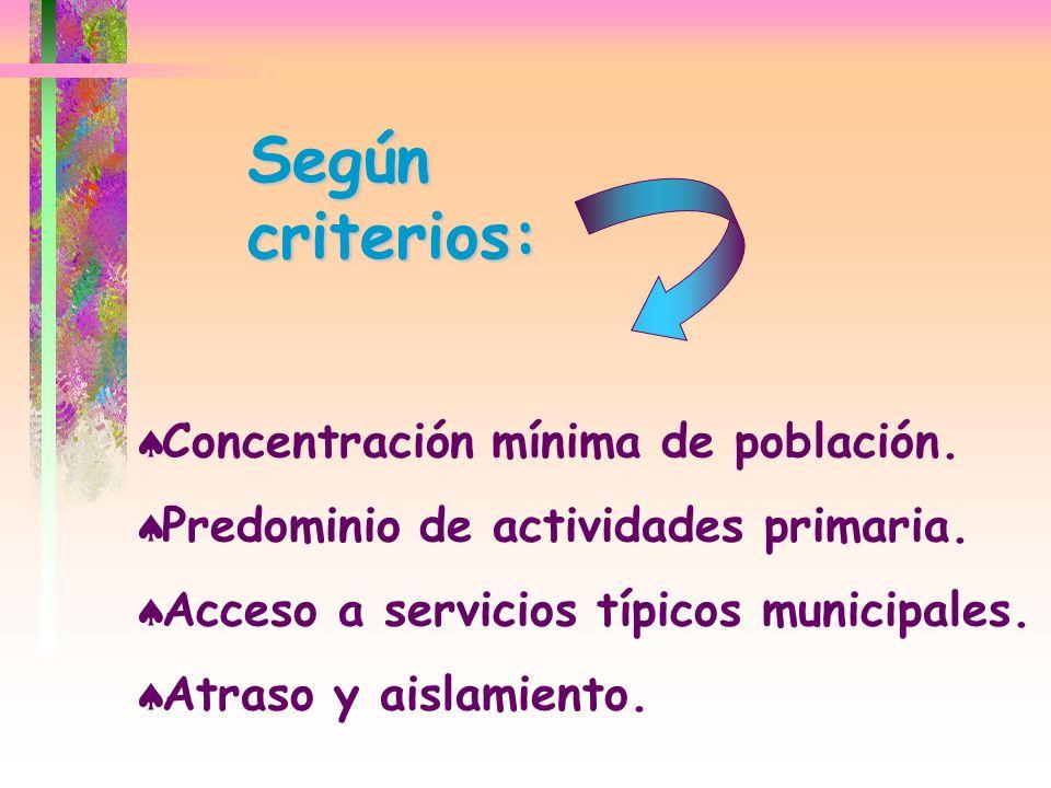 Según criterios: Concentración mínima de población. Predominio de actividades primaria. Acceso a servicios típicos municipales. Atraso y aislamiento.