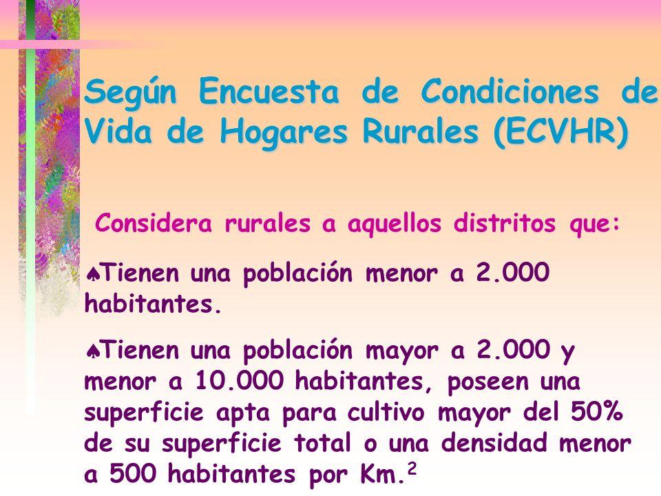 Según Encuesta de Condiciones de Vida de Hogares Rurales (ECVHR) Considera rurales a aquellos distritos que: Tienen una población menor a 2.000 habita