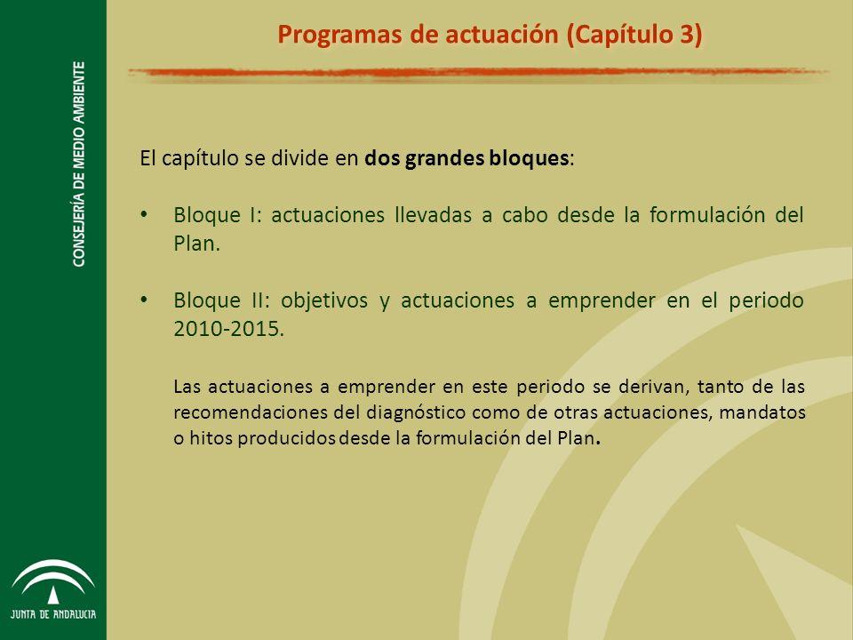 El capítulo se divide en dos grandes bloques: Bloque I: actuaciones llevadas a cabo desde la formulación del Plan.
