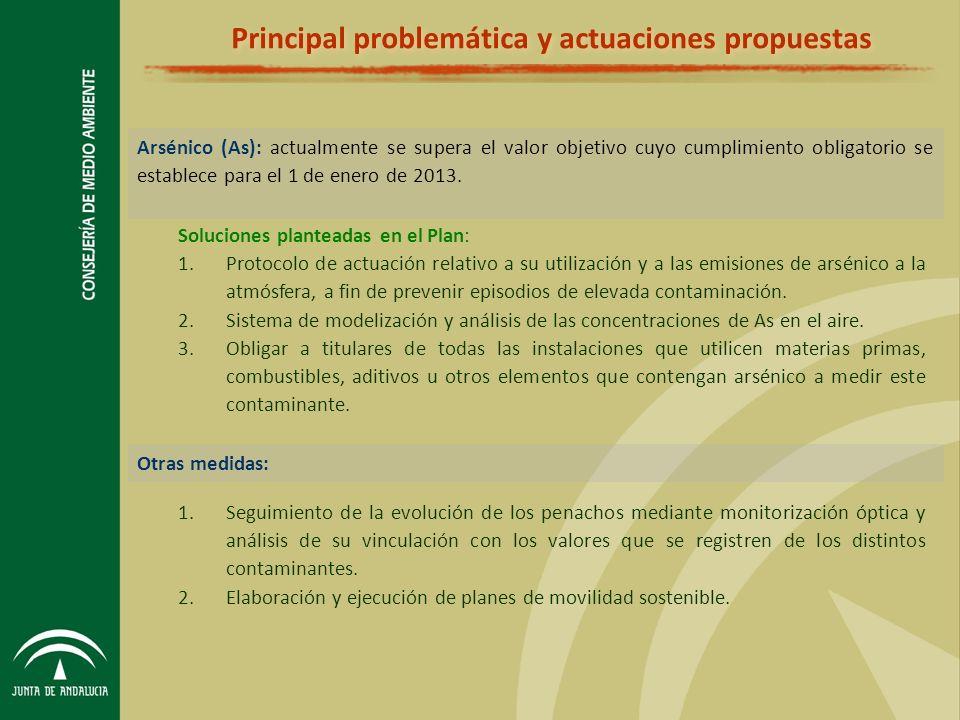Principal problemática y actuaciones propuestas Arsénico (As): actualmente se supera el valor objetivo cuyo cumplimiento obligatorio se establece para el 1 de enero de 2013.