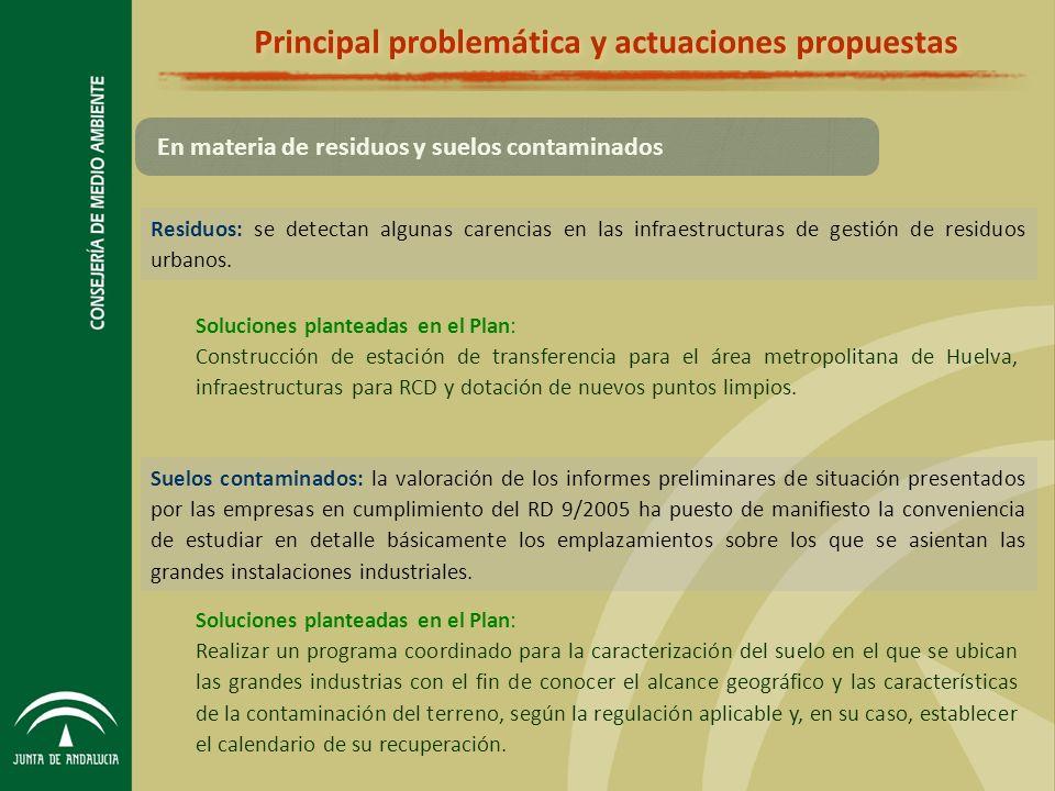 Principal problemática y actuaciones propuestas Residuos: se detectan algunas carencias en las infraestructuras de gestión de residuos urbanos.
