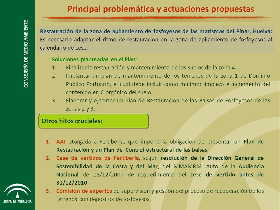 Principal problemática y actuaciones propuestas Restauración de la zona de apilamiento de fosfoyesos de las marismas del Pinar, Huelva: Es necesario adaptar el ritmo de restauración en la zona de apilamiento de fosfoyesos al calendario de cese.