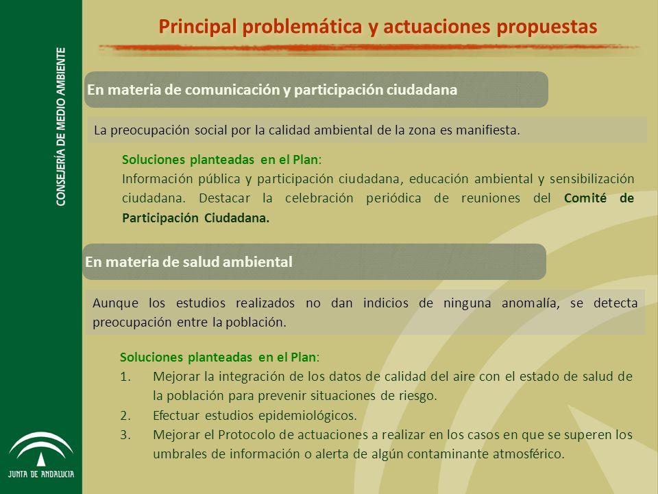 Principal problemática y actuaciones propuestas La preocupación social por la calidad ambiental de la zona es manifiesta.