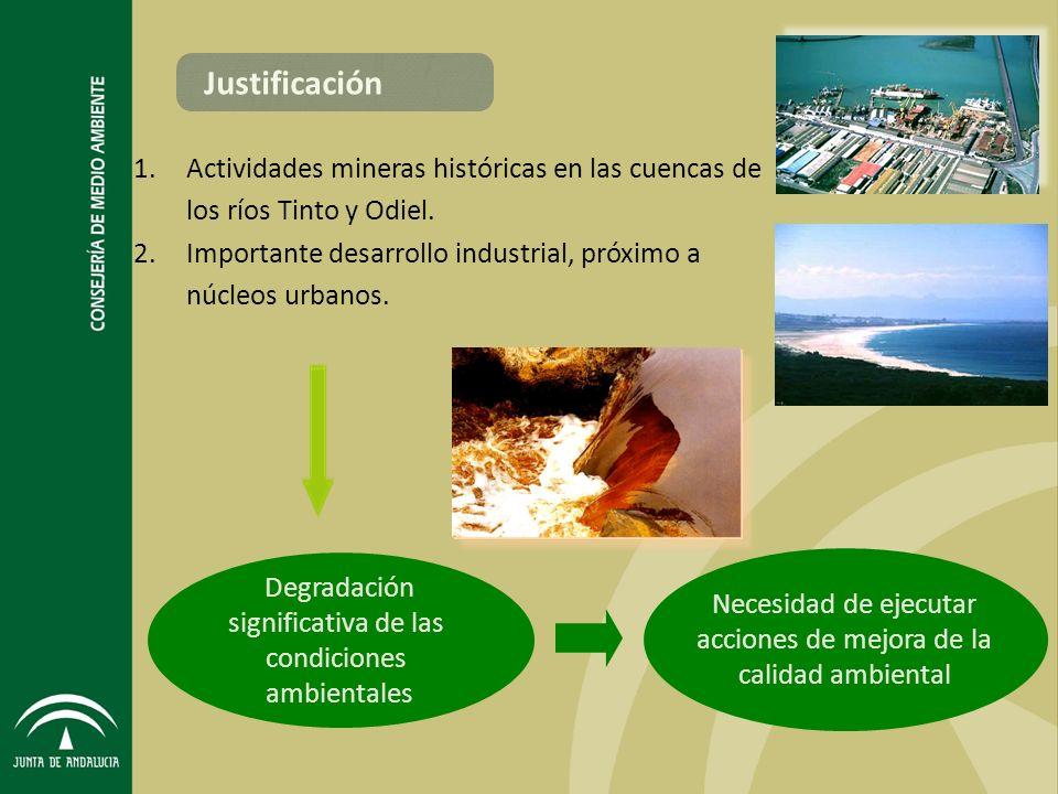 Degradación significativa de las condiciones ambientales Necesidad de ejecutar acciones de mejora de la calidad ambiental 1.Actividades mineras históricas en las cuencas de los ríos Tinto y Odiel.