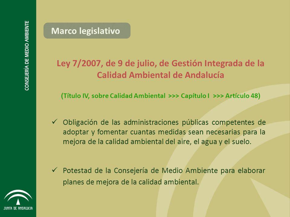 Ley 7/2007, de 9 de julio, de Gestión Integrada de la Calidad Ambiental de Andalucía Obligación de las administraciones públicas competentes de adoptar y fomentar cuantas medidas sean necesarias para la mejora de la calidad ambiental del aire, el agua y el suelo.