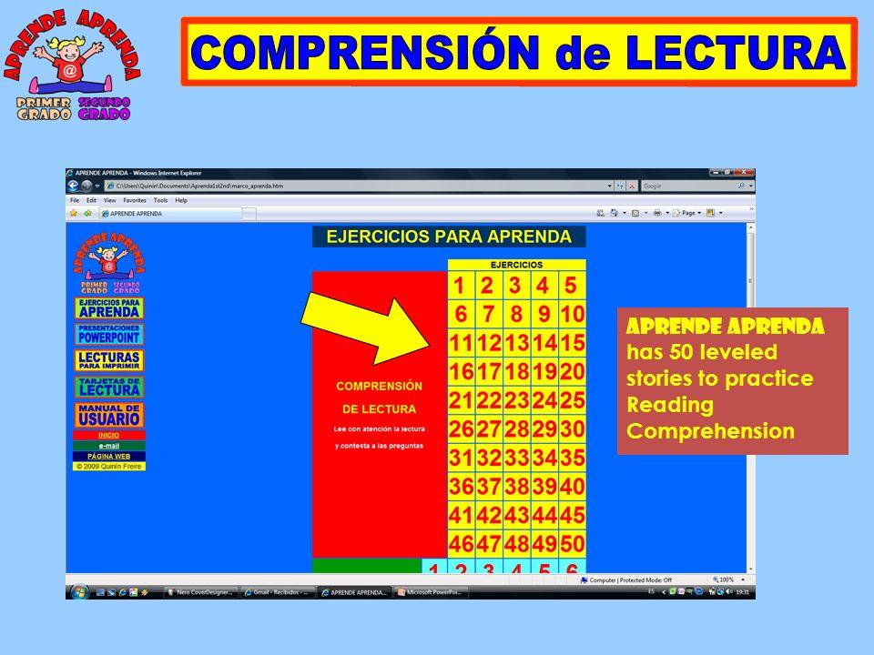 APRENDE APRENDA has 50 leveled stories to practice Reading Comprehension