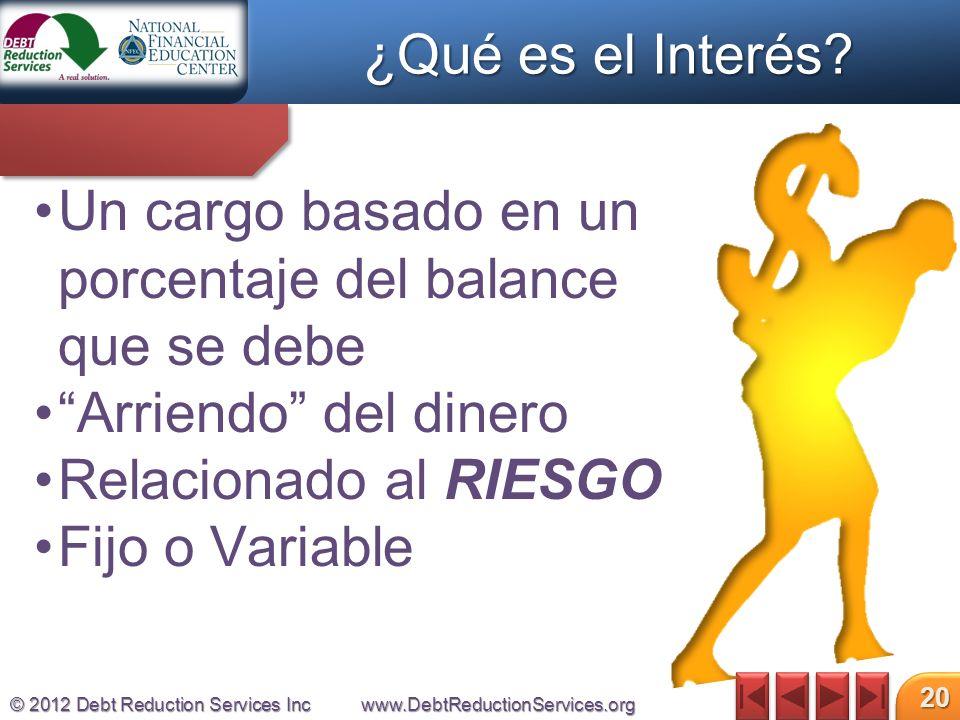 © 2012 Debt Reduction Services Incwww.DebtReductionServices.org 20 Un cargo basado en un porcentaje del balance que se debe Arriendo del dinero Relacionado al RIESGO Fijo o Variable ¿Qué es el Interés