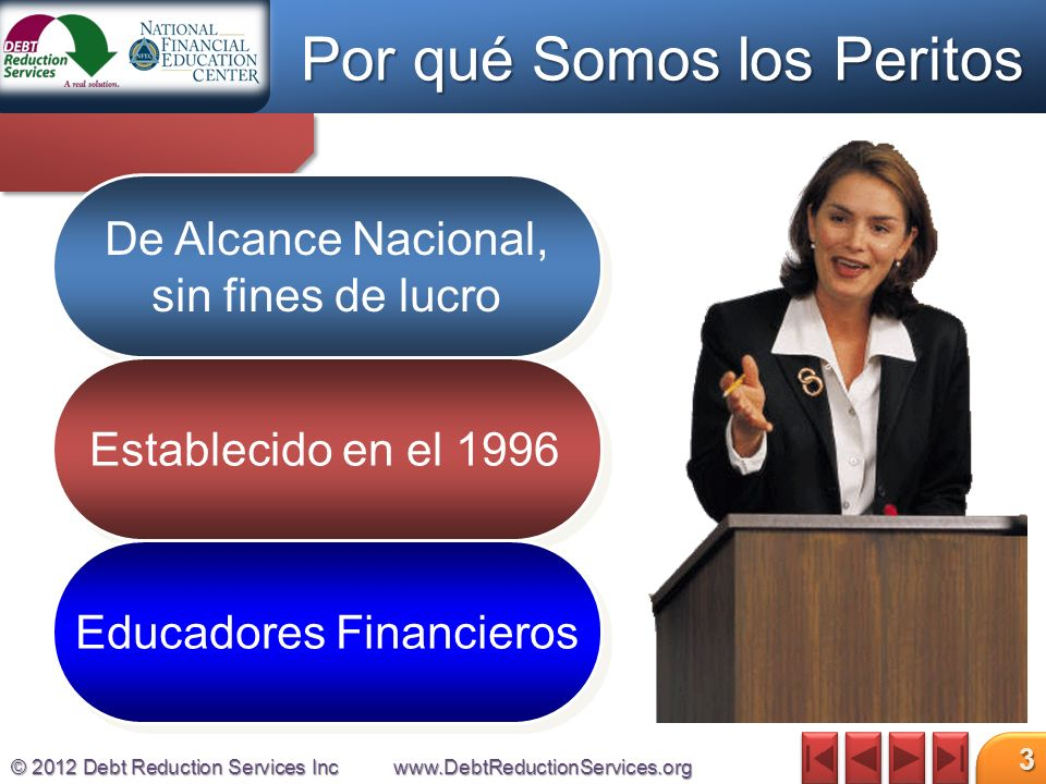 © 2012 Debt Reduction Services Incwww.DebtReductionServices.org 3 De Alcance Nacional, sin fines de lucro Establecido en el 1996 Educadores Financieros Por qué Somos los Peritos