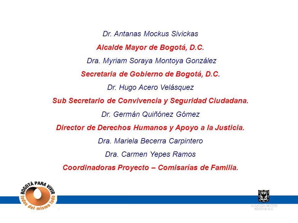 Dr. Antanas Mockus Sivickas Alcalde Mayor de Bogotá, D.C. Dra. Myriam Soraya Montoya González Secretaria de Gobierno de Bogotá, D.C. Dr. Hugo Acero Ve