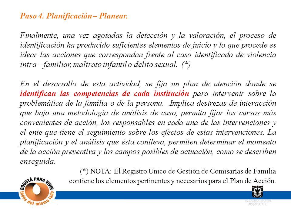 Paso 4. Planificación – Planear. Finalmente, una vez agotadas la detección y la valoración, el proceso de identificación ha producido suficientes elem