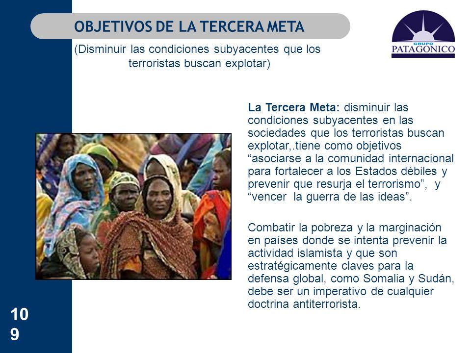 109 La Tercera Meta: disminuir las condiciones subyacentes en las sociedades que los terroristas buscan explotar,.tiene como objetivos asociarse a la