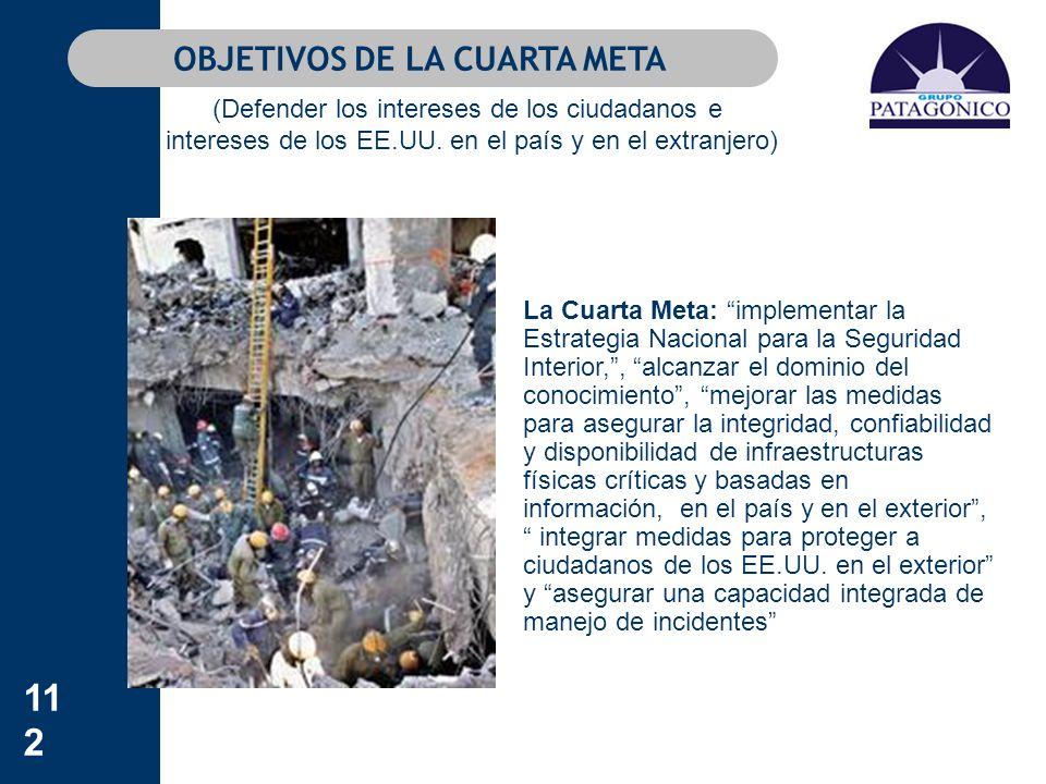 112 La Cuarta Meta: implementar la Estrategia Nacional para la Seguridad Interior,, alcanzar el dominio del conocimiento, mejorar las medidas para ase