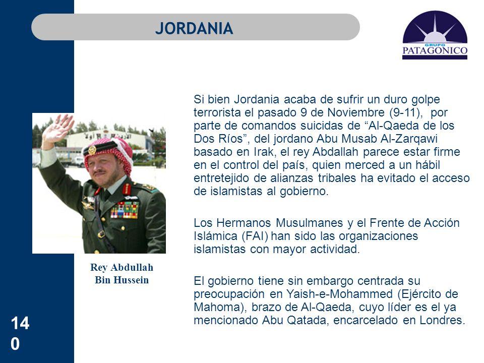 140 JORDANIA Si bien Jordania acaba de sufrir un duro golpe terrorista el pasado 9 de Noviembre (9-11), por parte de comandos suicidas de Al-Qaeda de
