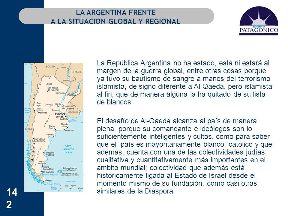 142 LA ARGENTINA FRENTE A LA SITUACION GLOBAL Y REGIONAL La República Argentina no ha estado, está ni estará al margen de la guerra global, entre otra