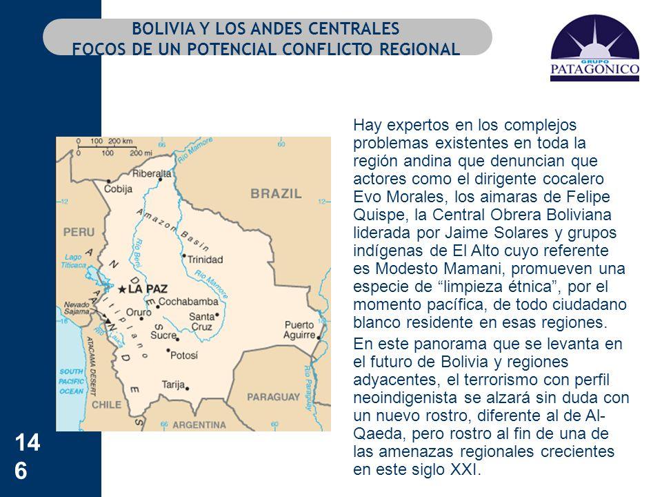 146 BOLIVIA Y LOS ANDES CENTRALES FOCOS DE UN POTENCIAL CONFLICTO REGIONAL Hay expertos en los complejos problemas existentes en toda la región andina