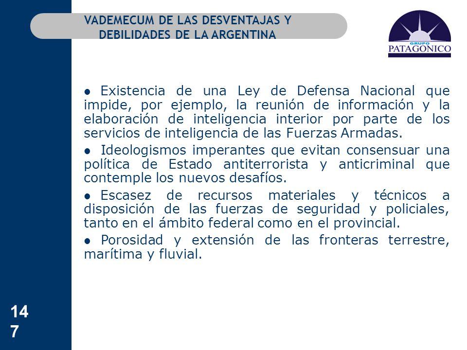 147 VADEMECUM DE LAS DESVENTAJAS Y DEBILIDADES DE LA ARGENTINA Existencia de una Ley de Defensa Nacional que impide, por ejemplo, la reunión de inform