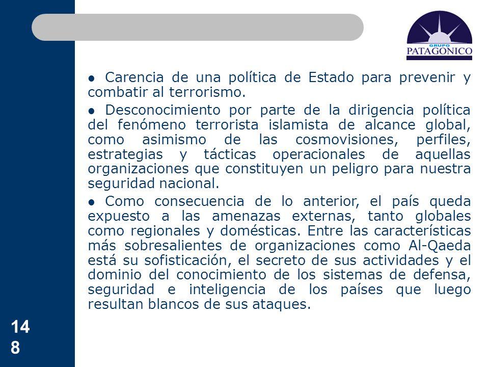 148 Carencia de una política de Estado para prevenir y combatir al terrorismo. Desconocimiento por parte de la dirigencia política del fenómeno terror